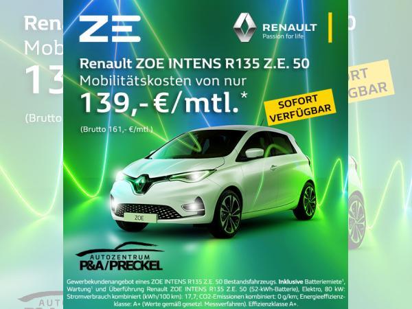 Renault ZOE INTENS R135 Z.E. 50 *sofort* inkl. Batteriemiete & Überführungskosten