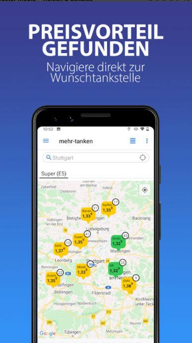 mehr tanken app navigation
