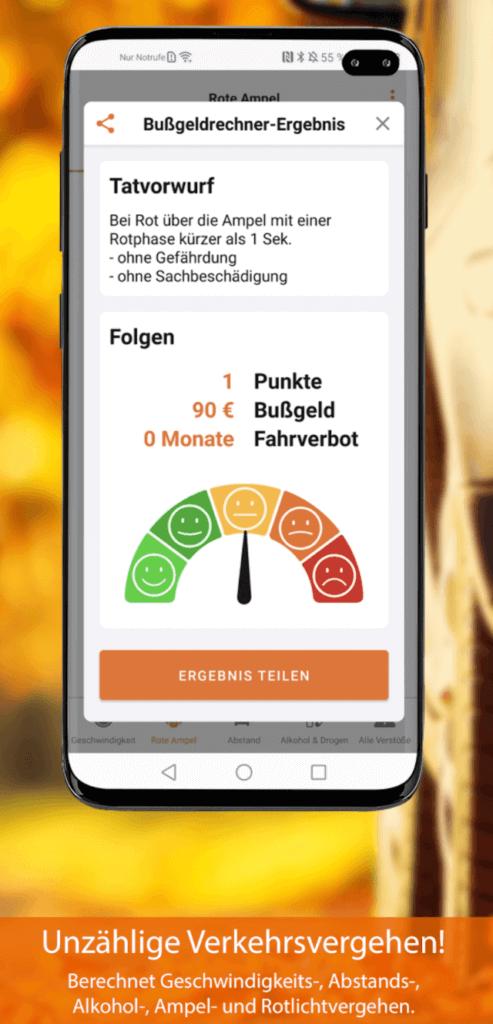 bussgeld app ergebnis