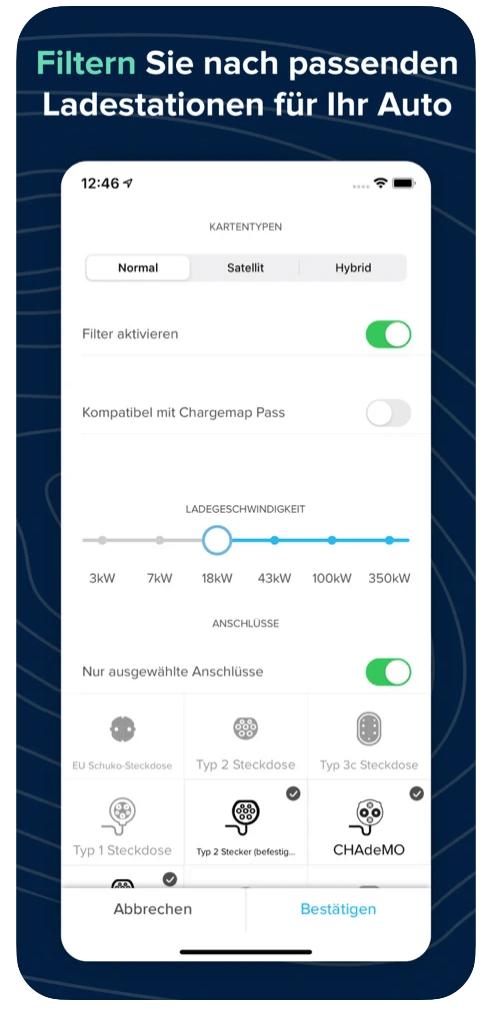 chargemap filteroptionen
