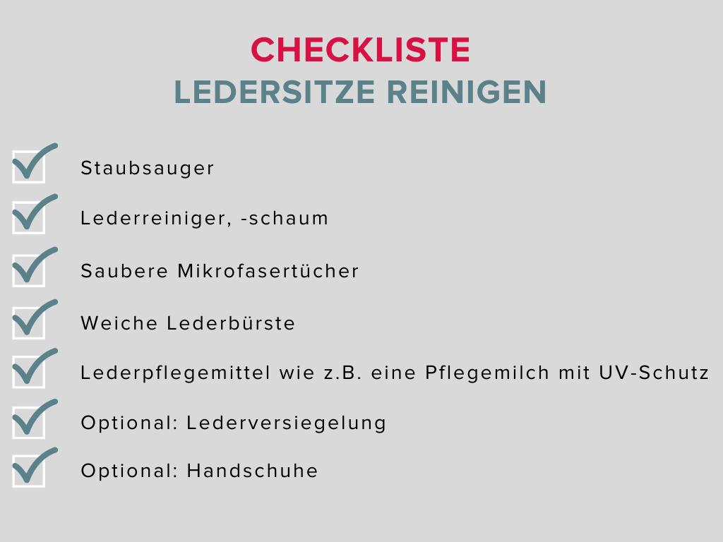 checkliste zum ledersitze reinigen