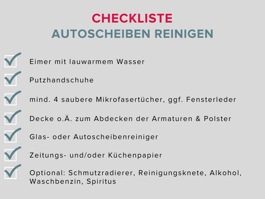 checkliste zum autoscheiben reinigen