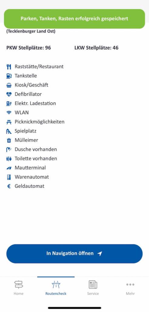 autobahn app detaillierte informationen zum rastplatz