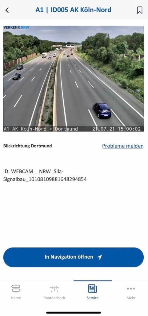 autobahn app detaillierte ansicht webcam