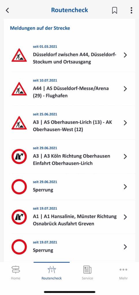autobahn app meldungen zur route