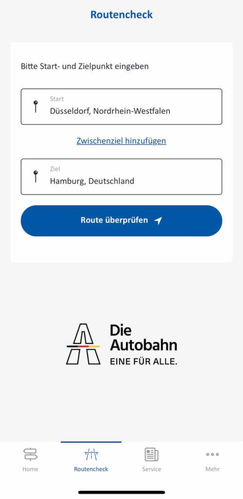 autobahn app eingabe der route