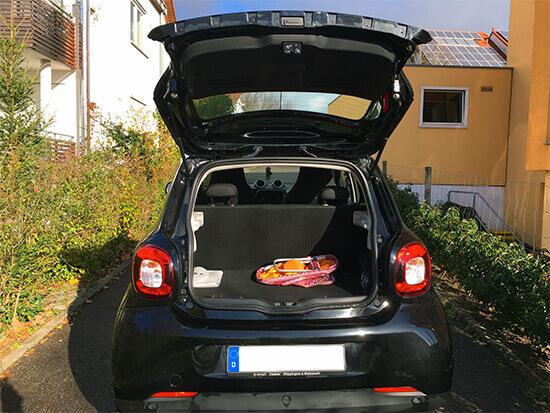 kofferraum des smart forfour